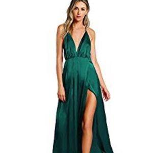 SheIn Green Satin Maxi Dress